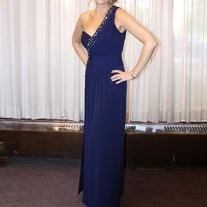 Gorgeous navy blue embellished one shoulder gown